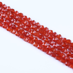 Semi Precious Loose Red Agate Gemstone Bead For Jewelry Making