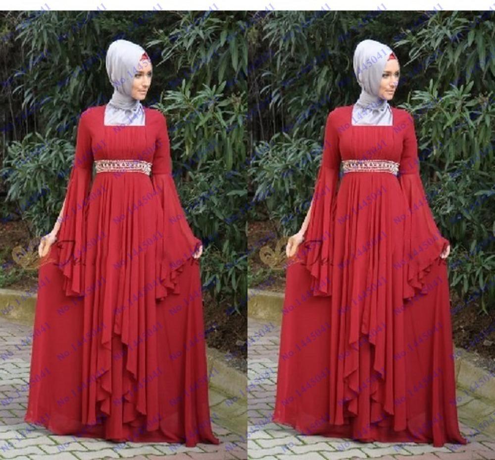 pas cher robe longue de soir e rouge robes manches longues perles duba kaftan abaya robe avec. Black Bedroom Furniture Sets. Home Design Ideas