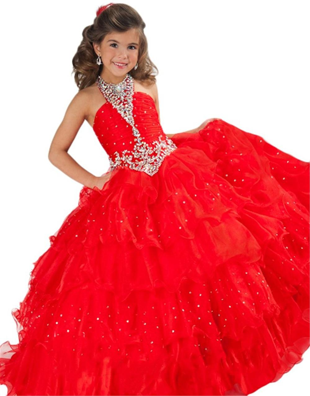 OEM princess little girls dresses red kids ball gown long pageant dresses girls prom dress kids evening gown, Picture color