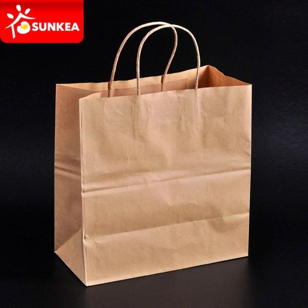 303e0162f45 Sacola de papel pardo marrom para compras   mercado com impressão  personalizada