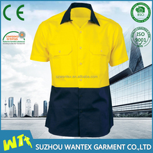 short sleeves yellow/navy working t shirt refelcting life t shirt for women