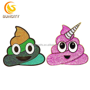 High quality custom lapel pin cute funny rainbow glitter pin soft enamel with gold plated lapel pin