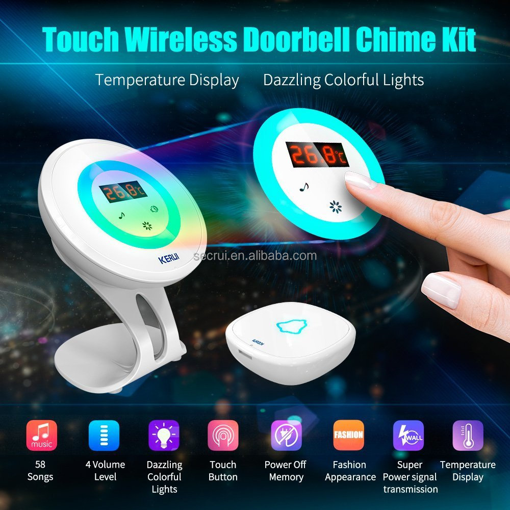 new doorbell 7 color night light wireless doorbell with memory function