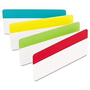 3M/COMMERCIAL TAPE DIV 686ALYR3IN Durable File Tabs, 3 x 1 1/2, Solid, Assorted Primary Colors, 24/PK