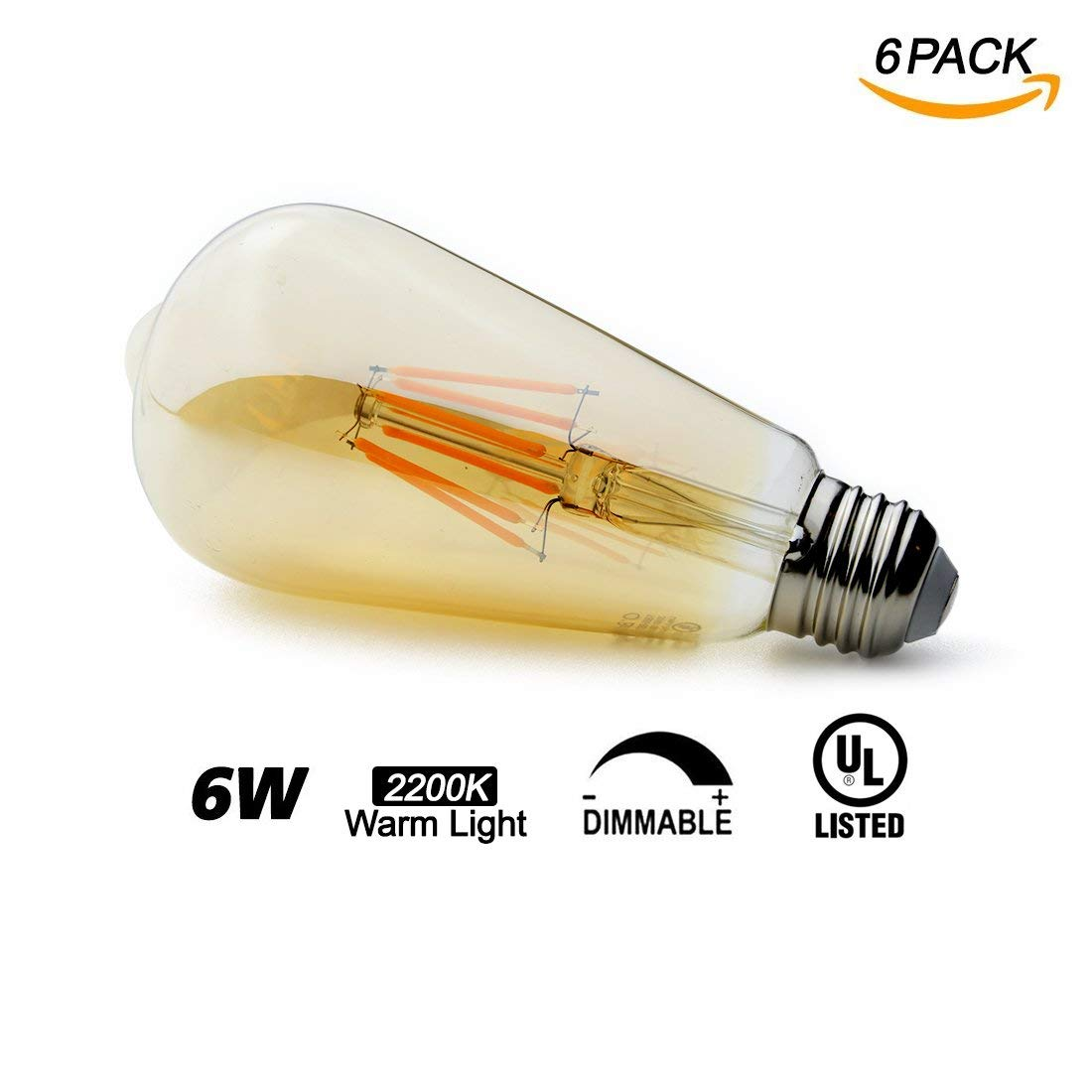 O'Bright Dimmable LED Edison Light Bulbs, 6W, Dimmable, ST21/ST64 Vintage Light Bulb, E26, 2200K (Warm Light), Vintage LED Bulb/Decorative Light Bulbs, Amber Glass, UL Listed, 6 Pack