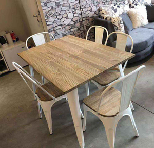 Cheap Vintage Rectangular Wood Top Metal Frame Dinning Furniture Restaurant Table / Luxury Iron Metal Legs Dining Tables Design