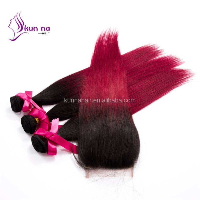 hot selling Indian hair extension ombre hair silky straight weave lace closure