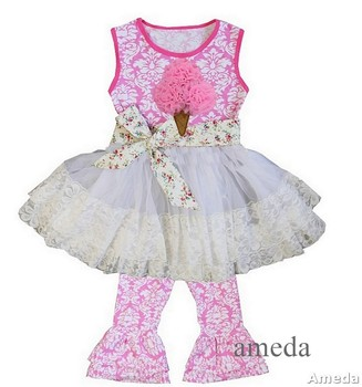 Girls Pink Damask Ice Cream Lace Ruffled Top with Pants and Flower Sash Outfit 1-6Y