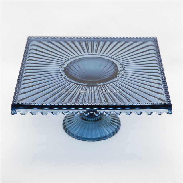 Home party entertain cake plate blue glass square large serving plate cake stand & large plate stand-Source quality large plate stand from Global large ...