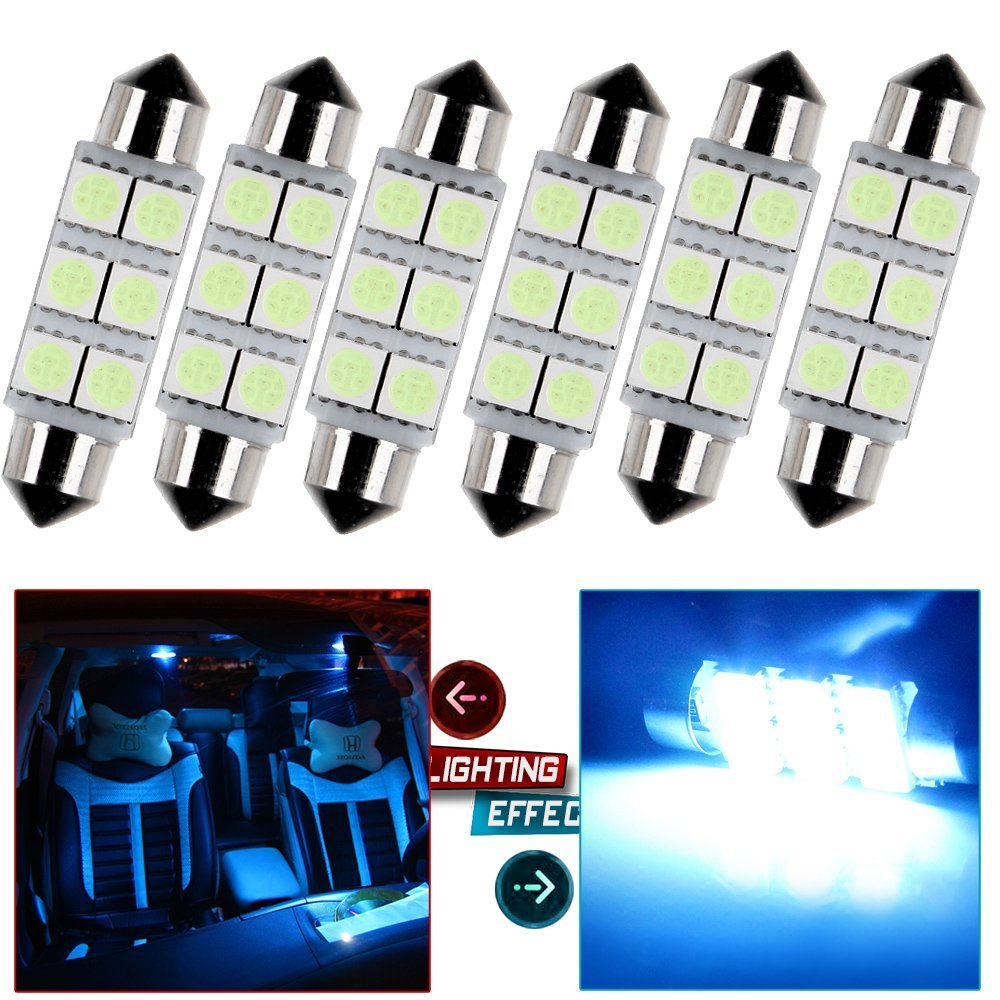 Pack of 2 Ruiandsion 28mm Festoon LED Bulbs 12V 5050 4SMD Chipsets 6000K Bulbs for Auto Interior Dome Map Light Lamp Bulbs