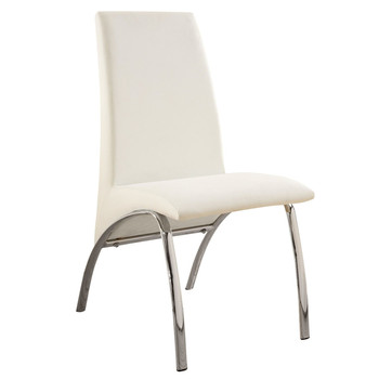 No Folded China Modern Chrome Legs White Synthetic Leather Dining Chairs