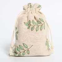 eco friendly small linen pouch bags linen drawstring pouch for gift