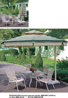 Aluminium side post umbrella, outdoor garden furniture metal table and chairs
