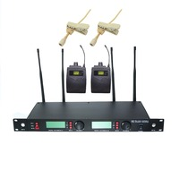 U-23 Professional Dual Channel UHF PLL Lapel / Lavalier Wireless Microphone System