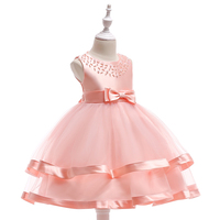 Guangzhou Meiqiai Kids Cake Layered Party Dress Baby Frock Design Girl Beading Flower Clothes L5017