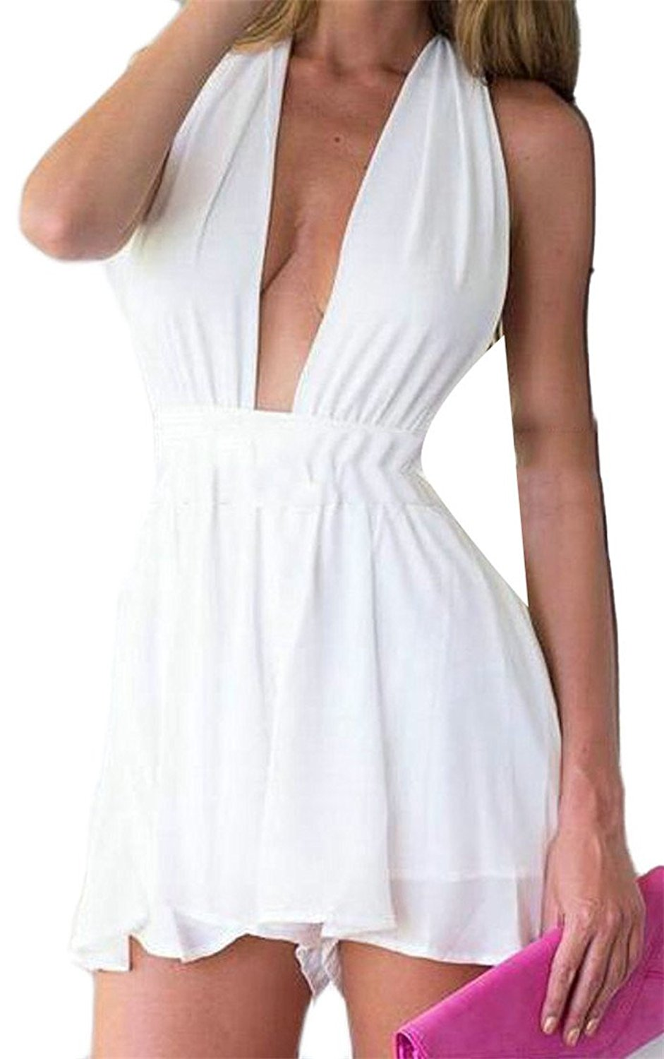 9870aaede615 Get Quotations · Cromoncent Womens Summer Backless Deep V Neck Short  Playsuit Jumpsuits White S