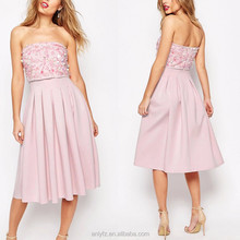 designer sequin bandeau scuba midi dress,off shoulder open-back elegant pink bridesmaid dresses for ladies clothes