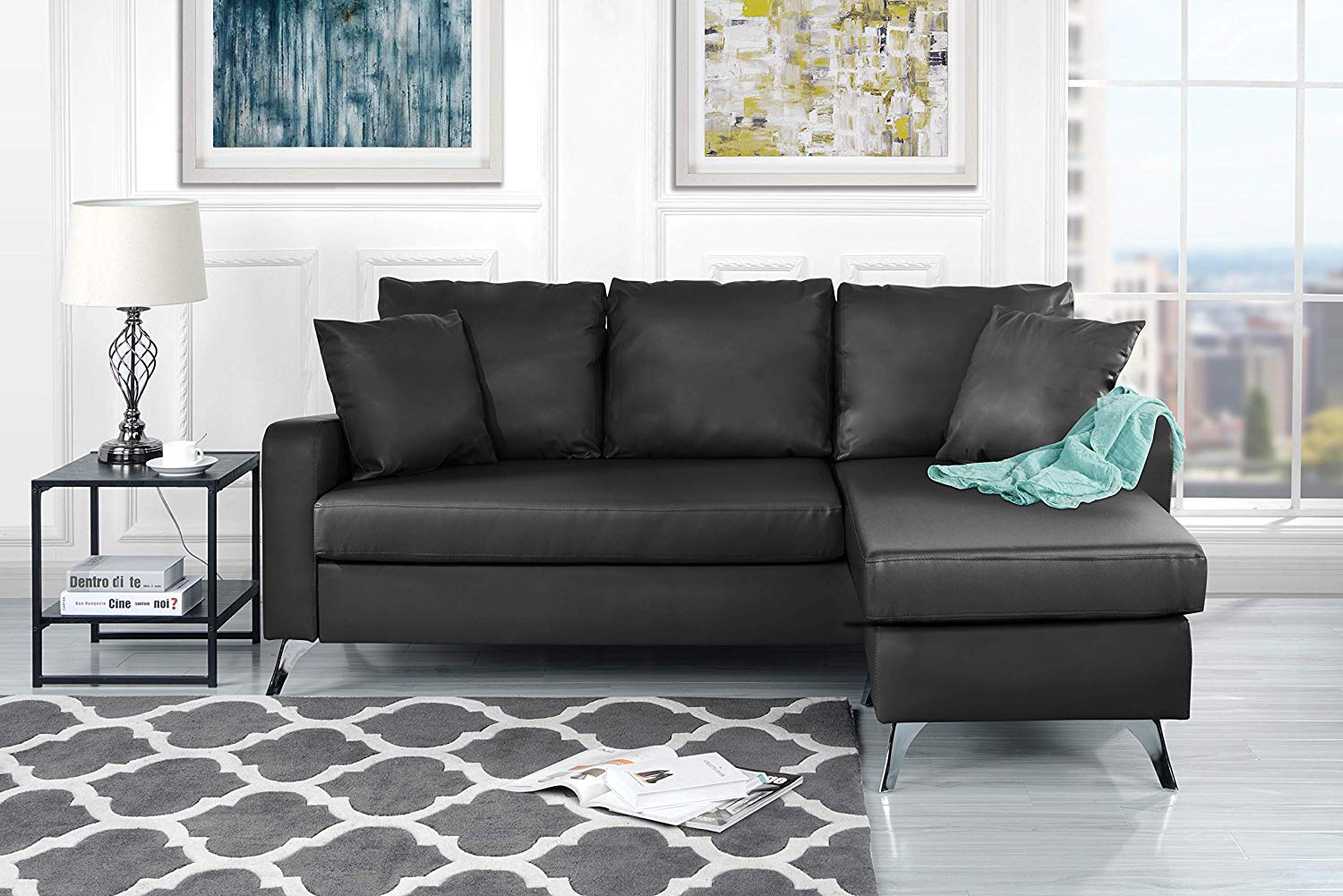 Divano Roma Furniture Bonded Leather Sectional Sofa - Small Space Configurable Couch (Dark Grey)
