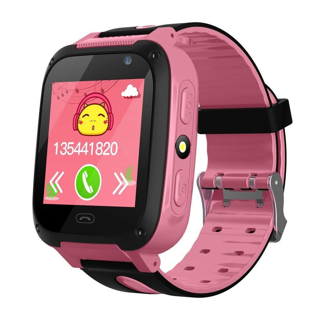 KEBIDU Kids Tracker Watch Waterproof, GPS Tracker Kids Smart Watch, GPS Bracelet for Kids Tracking with Camera Flashlight Function Touch Screen Anti-Lost SOS Camera Smart Watch Bracelet (Pink)