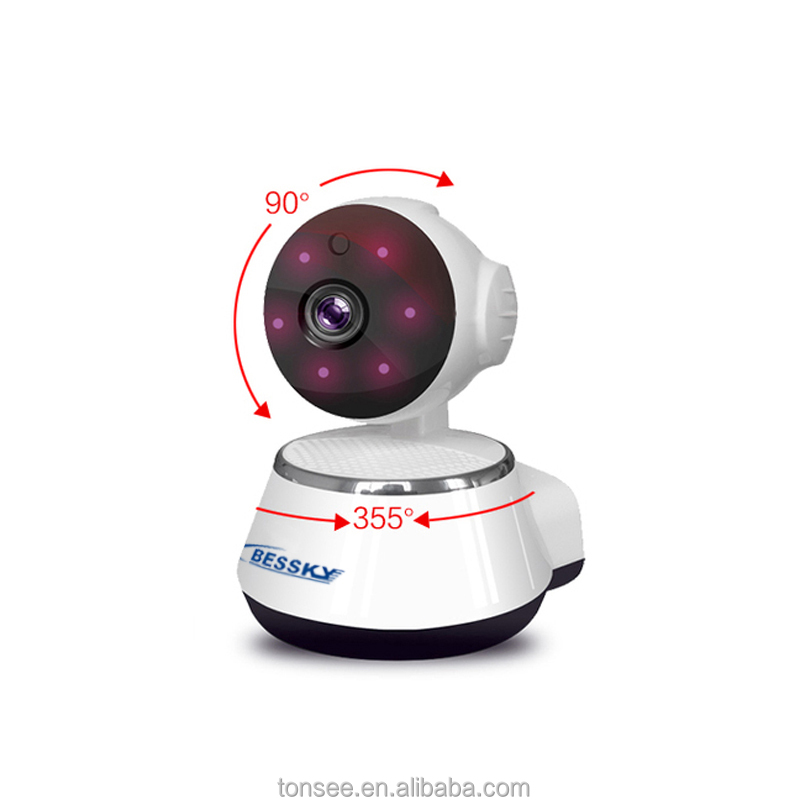 bessky cheap 720P Full HD wide range wireless Wi-Fi Camera Baby camera with SD card slot