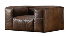 A5036 - American style modern tv room sofa set pure leather wooden frame cushion sofa