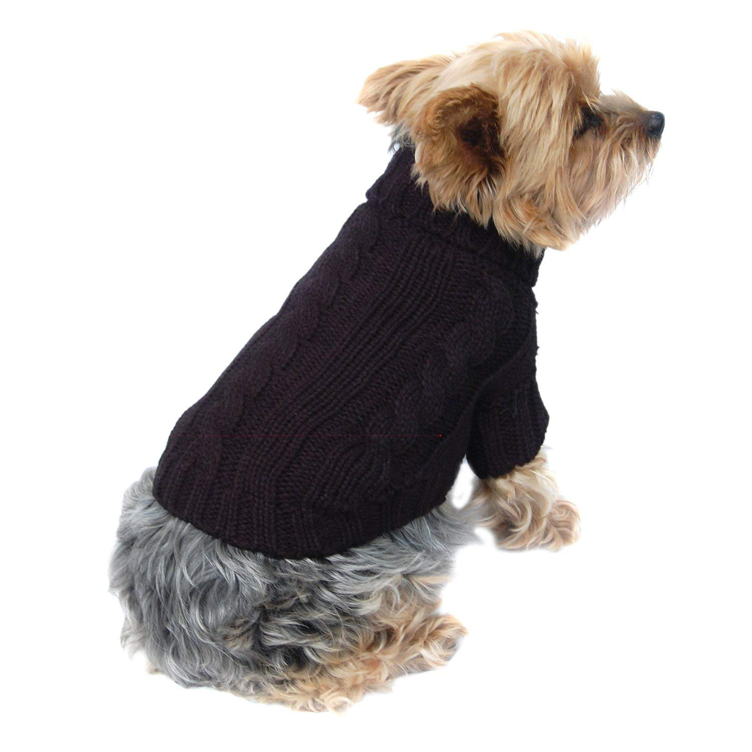1639a3c45aab Get Quotations · Anima Black Classic Cable Knit Dog and Pet Sweater, X Small