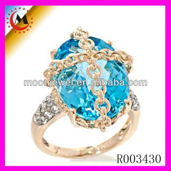 Big Light Blue Stone Rings Designs For Women