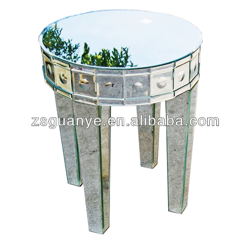 Small Silver Round Mirrored Besides With Shining Pots Nightstand Side Table Furniture Wholer View Bubble End