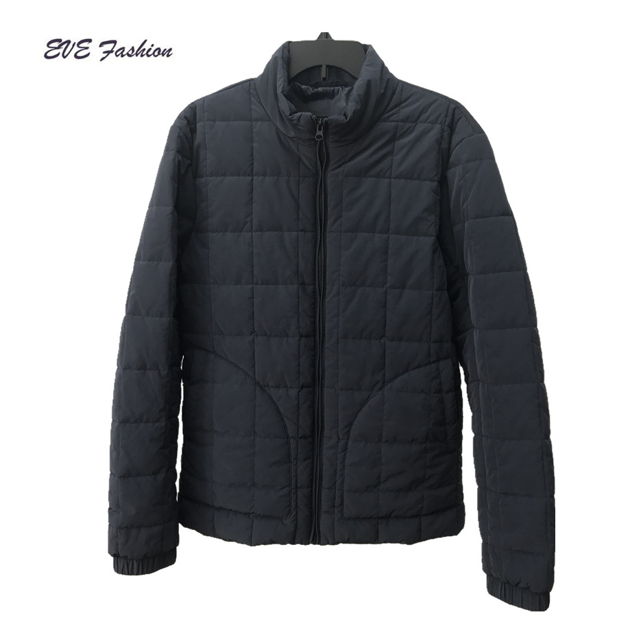 Men's box quilted jacket with thin polyester padding winter