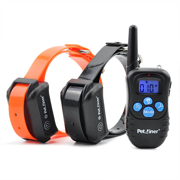 Petrainer PET998DBB-2 Rechargeable Electric Shock Collar With Waterproof Receiver For 2 Dogs