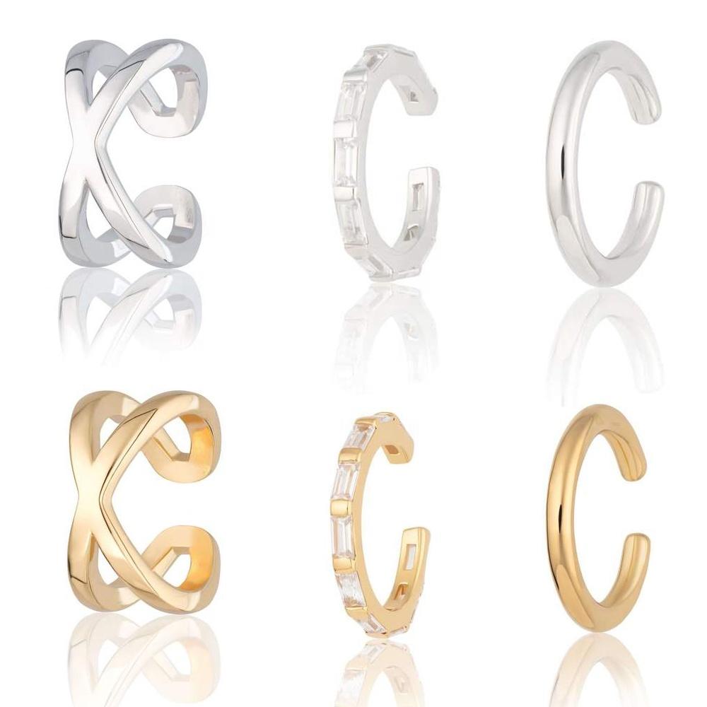 Earrings fashion 2019 Cross Over Ear Cuff, 925 Silver Single Ear Cuff Earrings for women