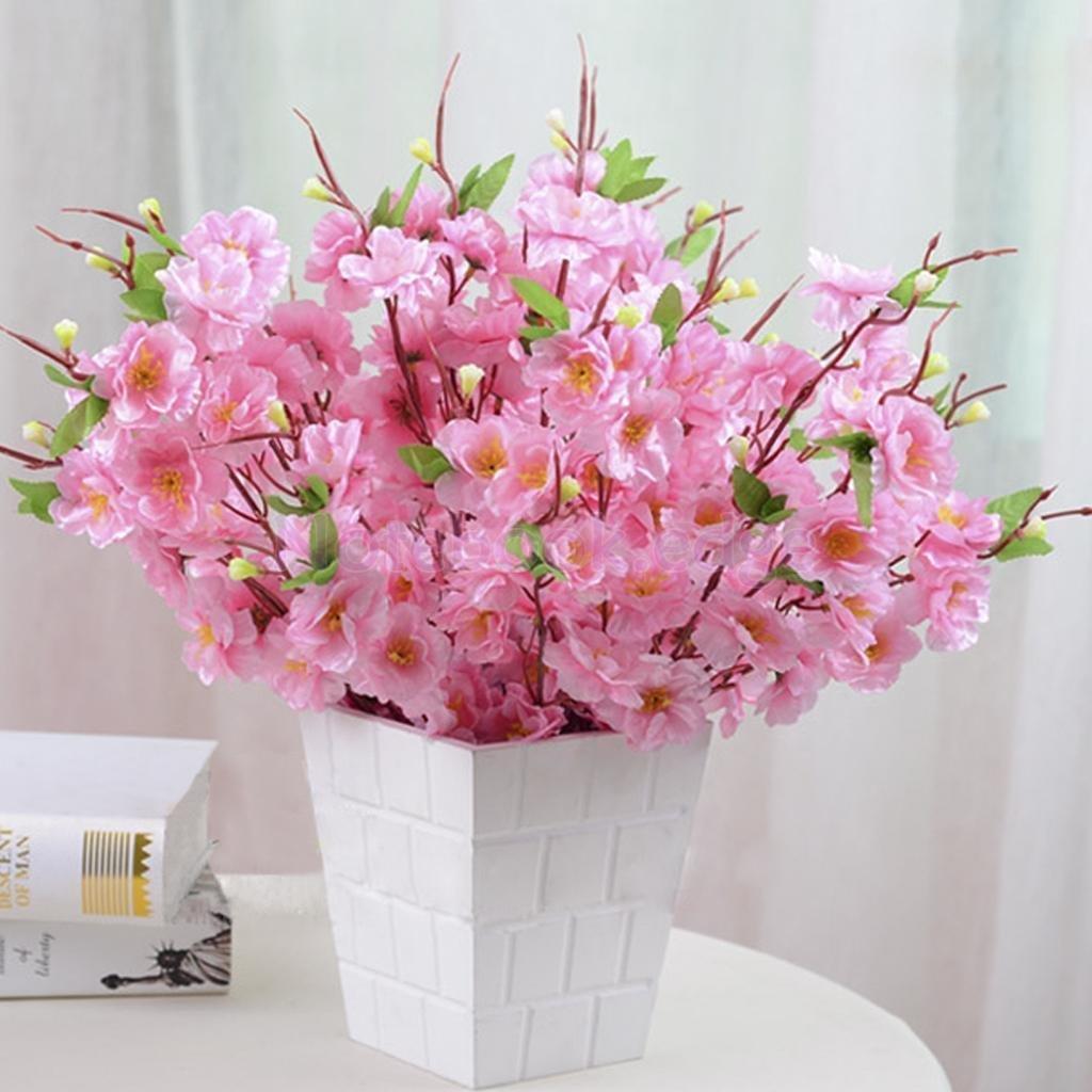 2Pcs Artificial Cherry Plum Spring Peach Blossom Flower Wedding Decor Pink ;TM79F-32M UGBA381741