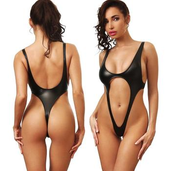 Women High Cut Latex Extreme Sexy One Piece Thong Bikini Swimwear ... fa3d2bb30228