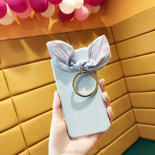 Rabbit ear bowknot Classical Hard Plastic Cloth England Fabric phone case for iphone 6 7 8 x plus with ring hook