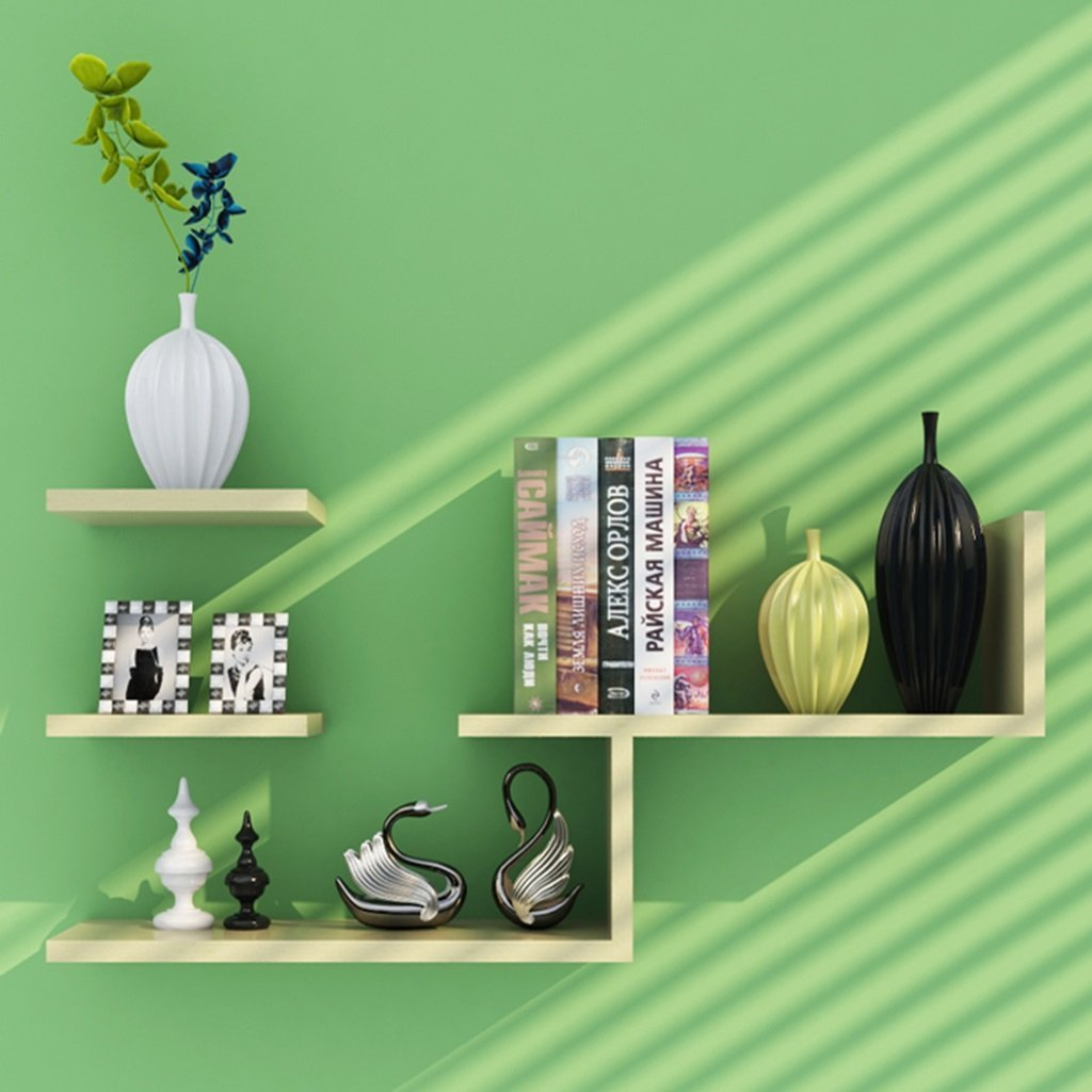 LQQGXL Storage and organization Wall-mounted wooden L-shaped floating storage shelves modern minimalist decorative bookcase (Color : 2)