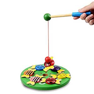 SIUNONE11 Wooden Cartoon Bees Fishing Toys for Toddlers Magnetic pole Encourage Eye-Hand Intellectual Development