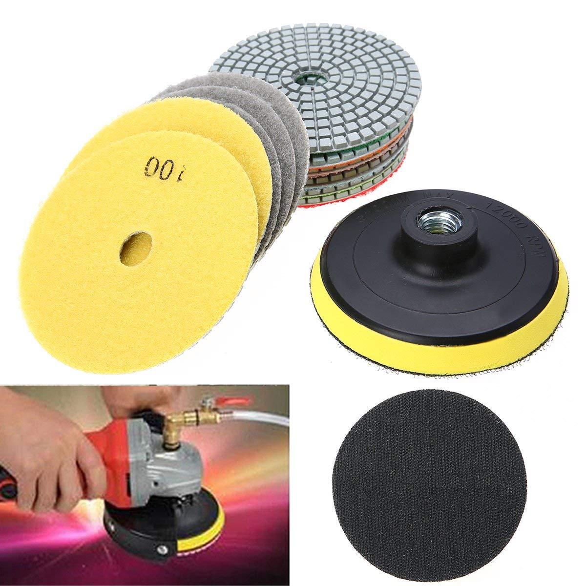WILLAI 12pcs 4 inch Diamond Polishing Pads With Polishing Wheel Set Mayitr For Granite Concrete Marble
