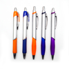 Retractable high quality metal clip rubber grip plastic ball pen