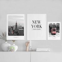 American Style New York City Canvas Paintings Modern Building Wall Art Pictures Street Poster Print