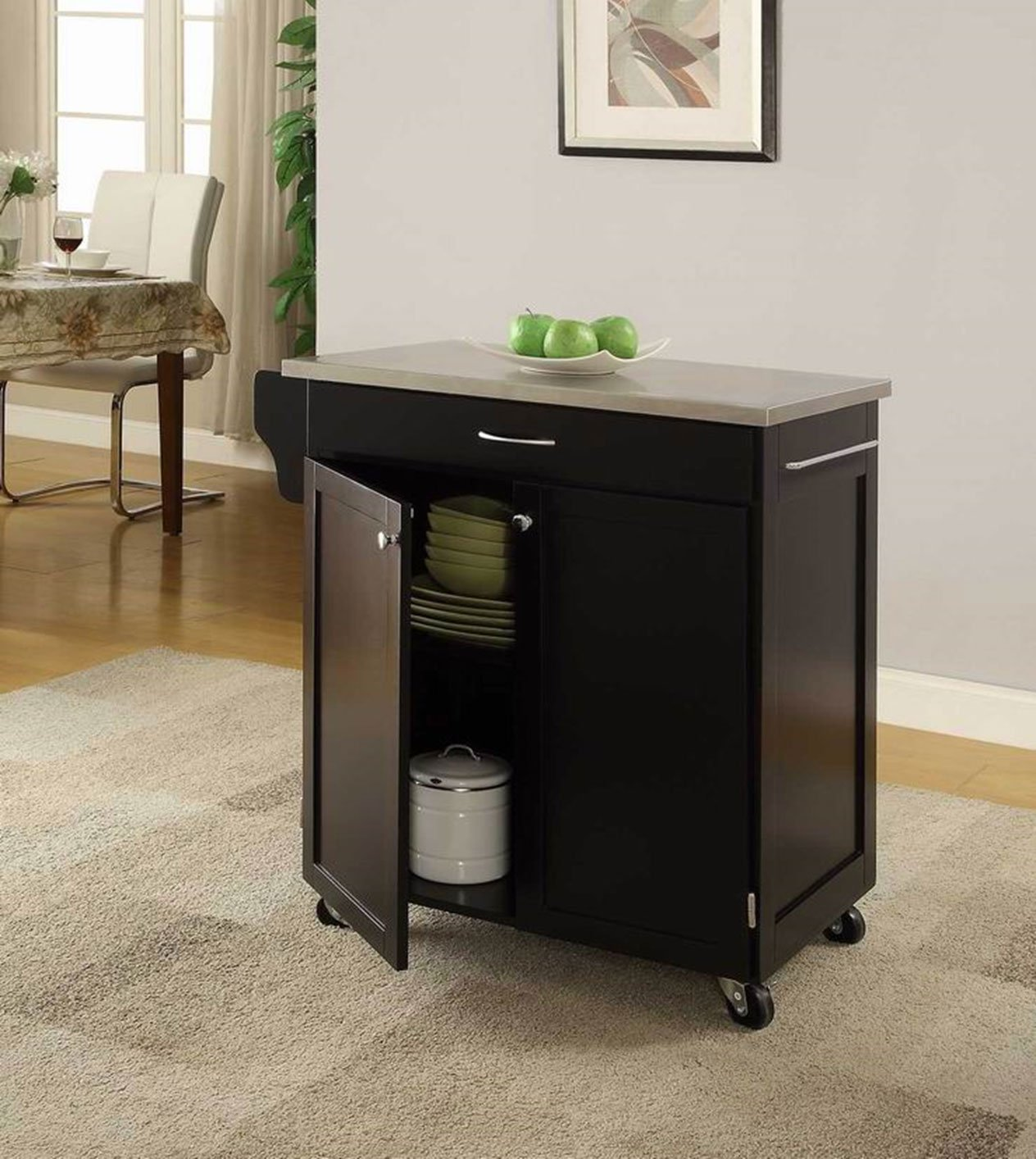 "Oliver and Smith - Nashville Collection - Mobile Kitchen Island Cart on Wheels - Black - Stainless Steel Top - 32"" W x 19"" L x 36"" H 102066-01blk"