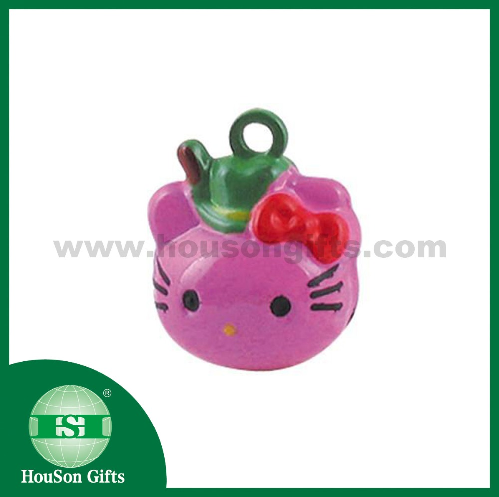HS783 Good sound brass bell pink ketty keychain animal small bells hello cat jingle bells