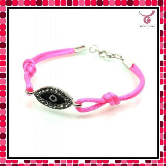 Fast selling! Pink cord EVIL Eye jewelry bracelet for good luck, many color for choice