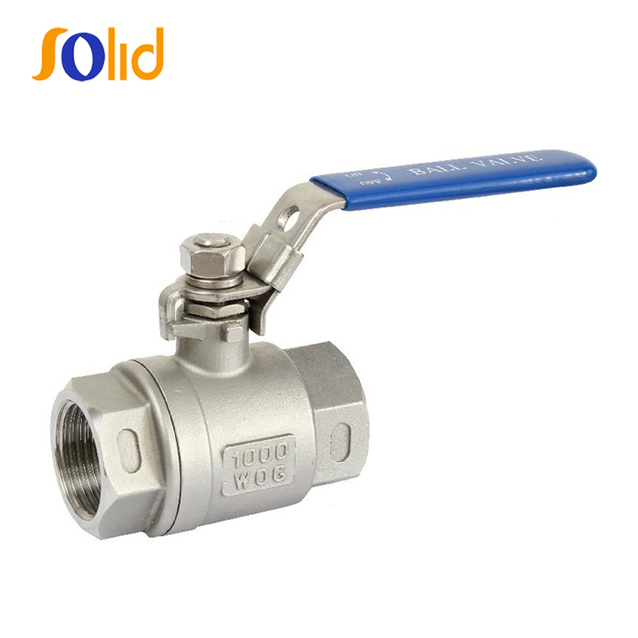 Two pieces stainless steel spring return PTFE seat ball valve