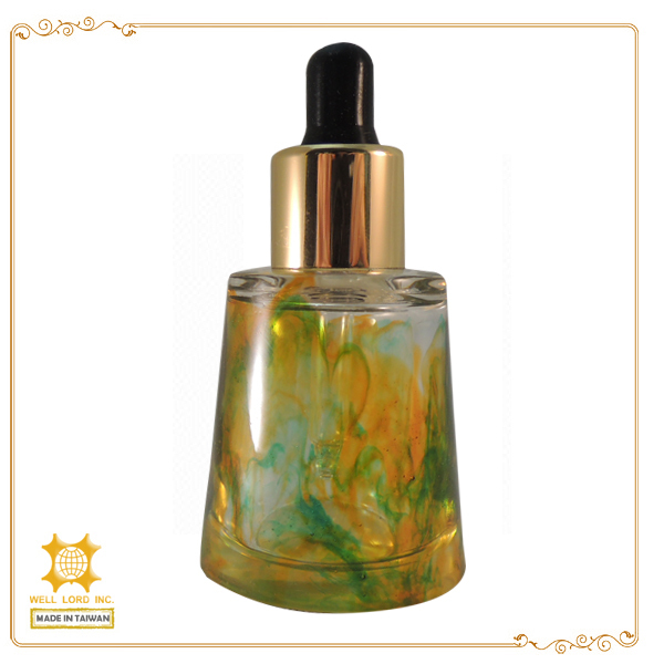 Useful lovely design travel use glass push botton oil dropper bottle