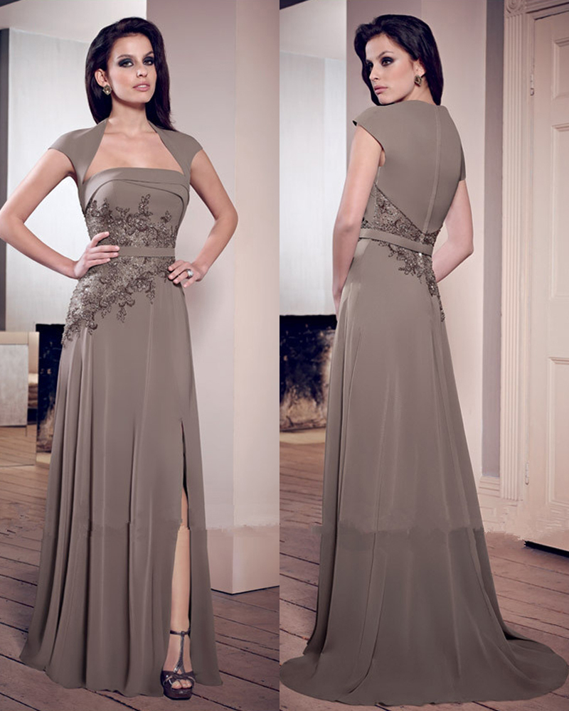 Unusual Mother Of The Bride Dresses: Unique-Strapless-Lace-Applique-Split-Side-Khaki-Formal