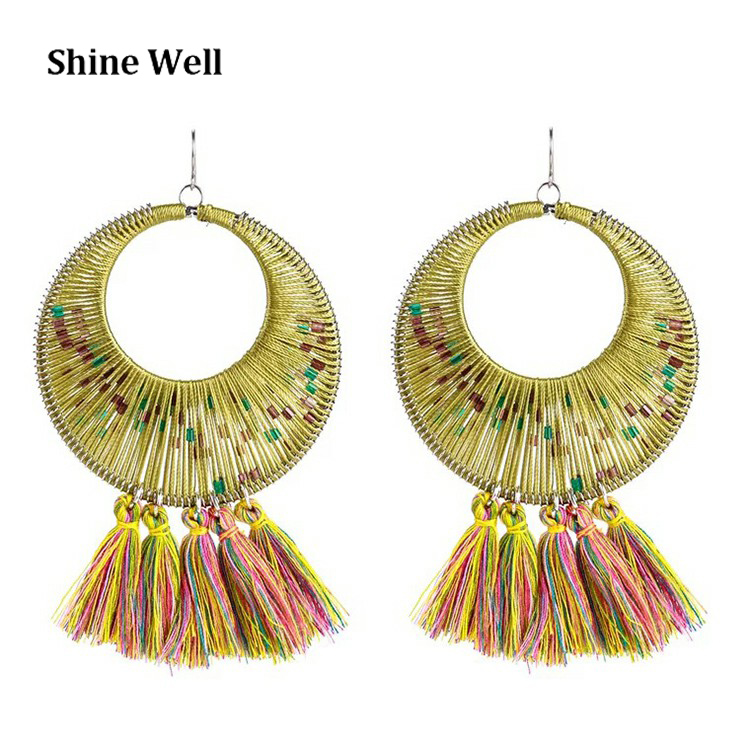 High Quality Jewelry Fashion Lady Gold Plated Circle Drop Tassel Earrings