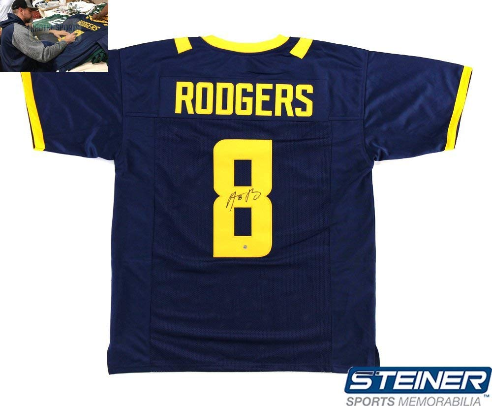 db52c28f Get Quotations · Aaron Rodgers Autographed/Signed California Golden Bears Blue  Custom Jersey