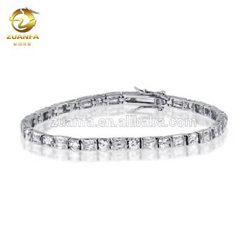 Vtg 925 Silver Sterling Rhodium 60 2mm Diamond Cut Zircon Classic Tennis Unisex Bracelet 7.5