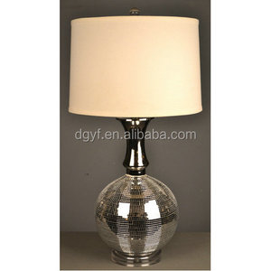 silver mirror mosaic table lamp