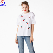 2018 trending products summer white custom 100% cotton oversized cherry embroidery women t-shirt